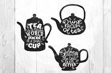 Watercolor Tea pot silhouettes