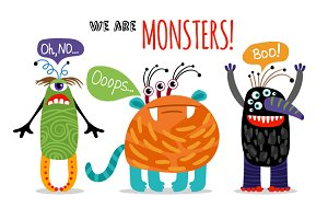 Set of Cute Monsters