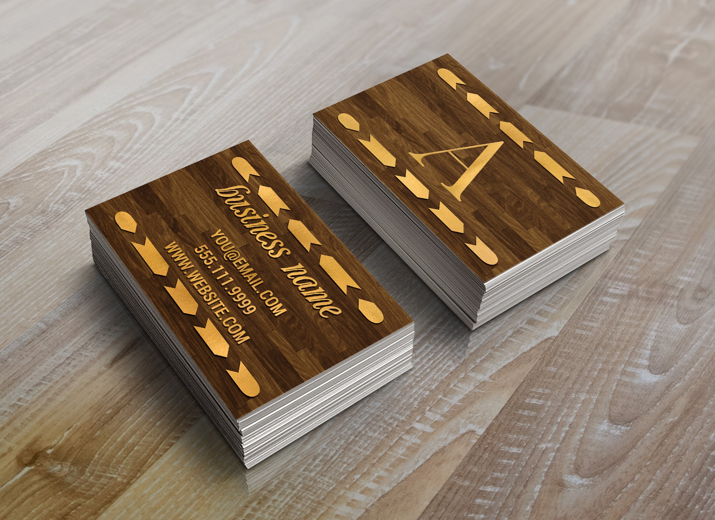 Wood & Gold Foil Arrow Business Card ~ Business Card Templates ...