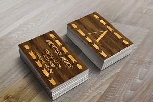 Wood & Gold Foil Arrow Business Card
