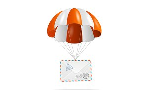 Mail delivery. Parachute. Vector