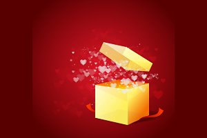 Heart and Gift Box Card. Vector