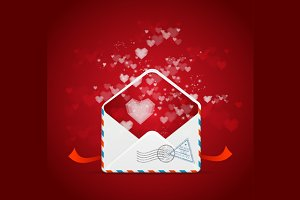Heart and Mail Card. Vector