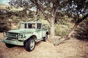 Old military abandoned car