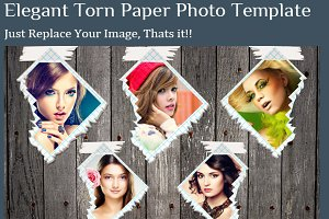 Elegant Torn Paper Photo Frame