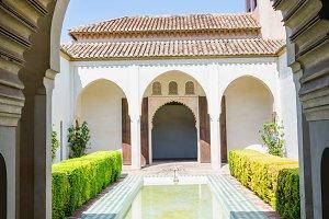 Spain. Alcazaba Malaga courtyard