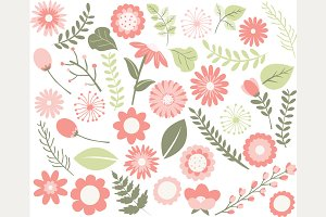Peach Flowers, Wedding Clipart