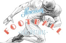 American football illustration set