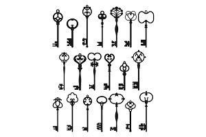 Silhouettes of Vintage Keys