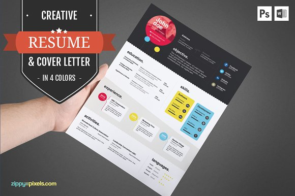 creative cv template cover letter resume templates on