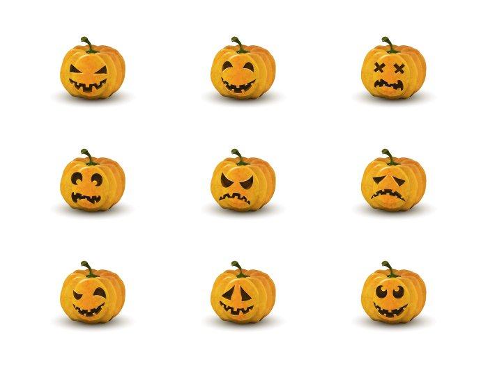 Set of nine halloween pumpkin faces ~ Objects ~ Creative Market