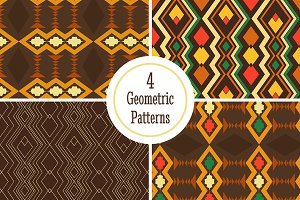 Four geometric seamless pattern.