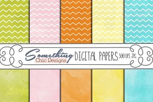 Watercolor Chevron Digital Backgroun