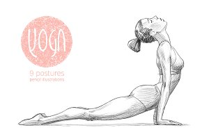 Sketchy yoga poses illustration set