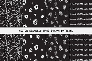 8 Black-White Hand Drawn Patterns
