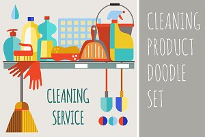 Cleaning product icon set