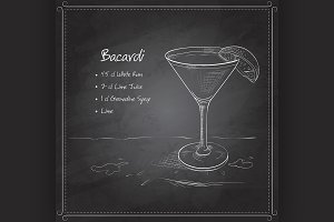 coctail bacardi on black board