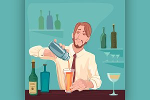 Vector illustration of barman