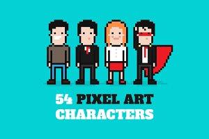 54 Vector Pixel Art characters