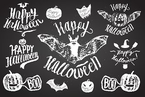 halloween spooky calligraphy set