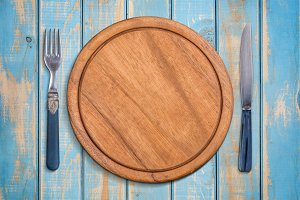 Empty wooden plate