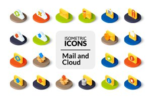 Isometric icons - Mail and Cloud