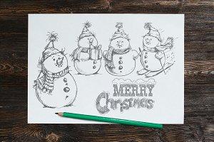 Hand drawn sketch style snowman set