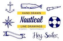 Hand Drawn Nautical Line Drawings