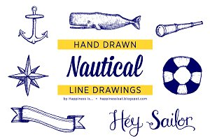 Hand Drawn Nautical Line Drawings