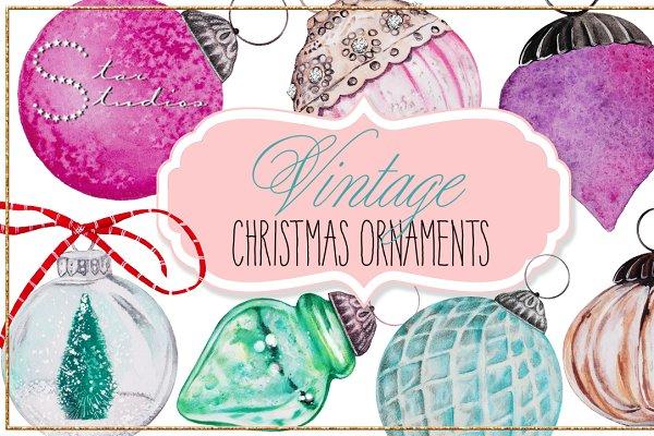 Vintage Christmas Ornaments pack