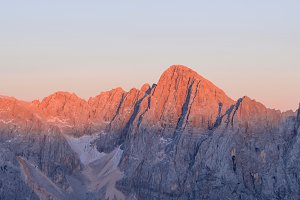 Alpine peaks before sunset