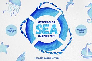 Watercolor Sea Graphic Set