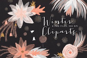 Winter Floral Cliparts