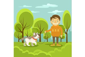 Vector boy with dog