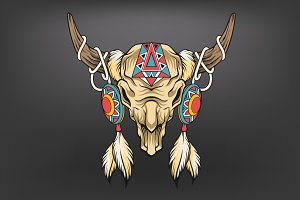 Buffalo skull. Vector art