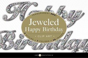 Clip Art • Jeweled Happy Birthday
