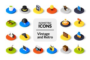 Isometric icons - Vintage and Retro