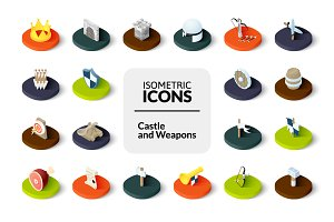 Isometric icons - Castle and Weapons