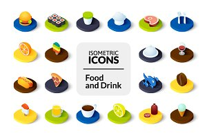 Isometric icons - Food and Drink