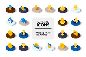 Isometric icons - Winning and Awards