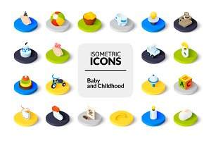 Isometric icons - Baby and Childhood
