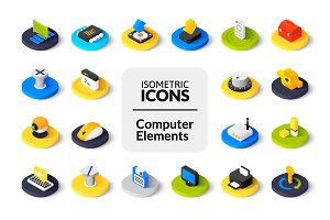 Isometric icons - Computer Elements