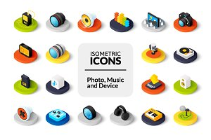 Isometric icons - Photo and Music