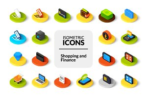 Isometric icons - Shopping, Finance