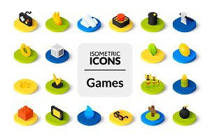 Isometric icons - Games