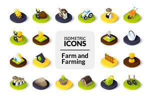 Isometric icons - Farm and Farming