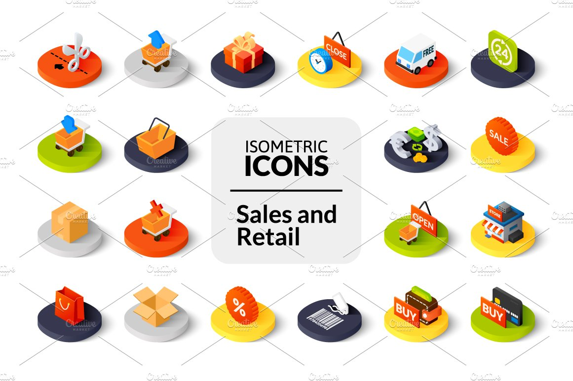 Isometric Icons Sales And Retail Icons Creative Market