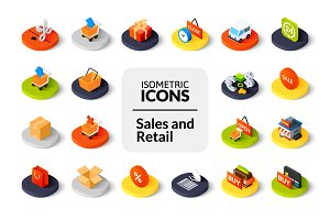 Isometric icons - Sales and Retail