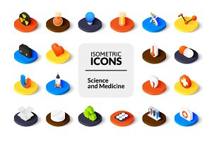 Isometric icons - Science, Medicine