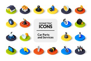 Isometric icons - Car Parts, Service